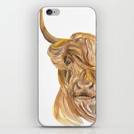 Highland Cow Watercolor iPhone Skin
