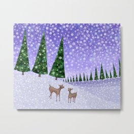 deer in the winter woods Metal Print