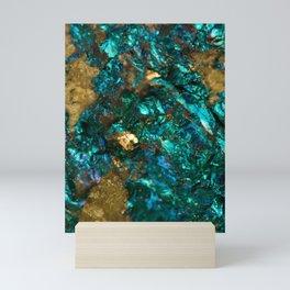 Teal Oil Slick and Gold Quartz Mini Art Print