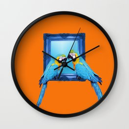 macaw Bird sitting on frame orange Wall Clock