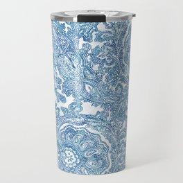 Blue Boho Paisley Pattern II Travel Mug