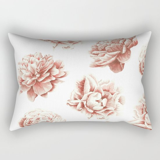 Rose Garden Vintage Rose Pink Cream and White Rectangular Pillow