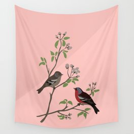 Peaceful harmony in the cherry tree - Illustration Wall Tapestry