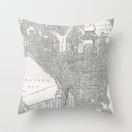 Vintage Seattle Map Throw Pillow