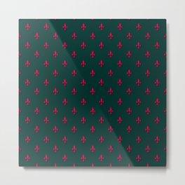 Red & Green Fleur-de-Lis Pattern Metal Print