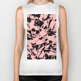 Old Rose Black Abstract Military Camouflage Biker Tank
