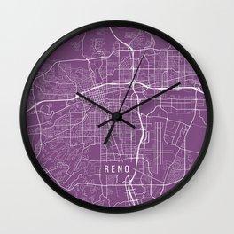 Reno Map, USA - Purple Wall Clock