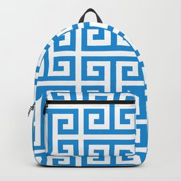 Bright Blue and White Greek Key Pattern Backpack