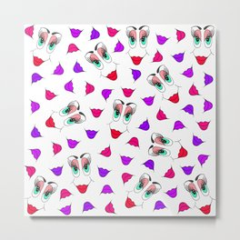 Funny Girly Pink Red Smiley Face and Lips Pattern Metal Print