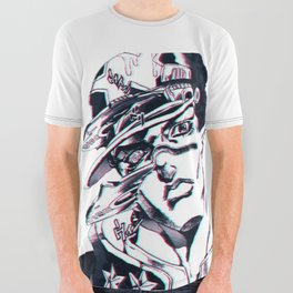 Jotaro Kujo from Jojo's bizarre adventure affected by Whitesnake All Over Graphic Tee