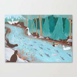 Feasting in the Stream Canvas Print