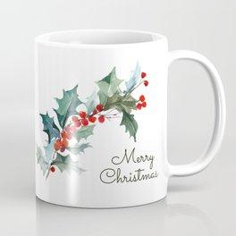 Holly Branch Merry Christmas  Coffee Mug