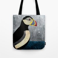 puffin Tote Bags featuring puffin by John Beswick