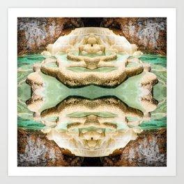 Symmetrical kaleidoscope surreal of gours calcite formation rimestone Art Print