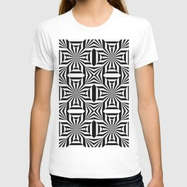 Black and white op art pattern with stars and striped lines T-shirt