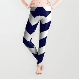 Navy Blue Chevron Zig Zag Pattern Leggings
