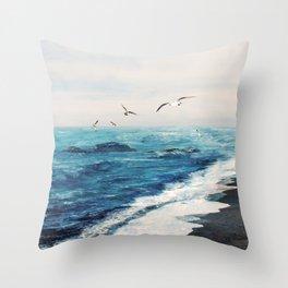 Watercolor Coast Throw Pillow