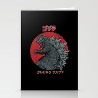 kaiju Stationery Cards featuring Gojira Kaiju Alpha by pigboom el crapo
