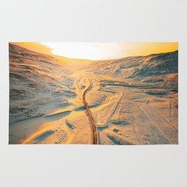 iceland road aerial view Rug