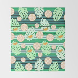 Watermelons underwater Throw Blanket