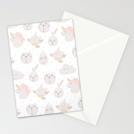 Pastel pink gray cute magical funny unicorn animals Stationery Cards