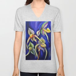 Orchid -  The Paphiopedilum , known as Lady's Slipper Unisex V-Neck