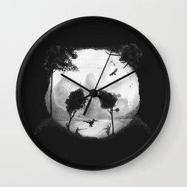 CROUCHING PANDA HIDDEN SOMEWHERE - painting Wall Clock