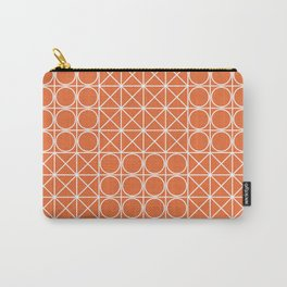 Geometric Tile Pattern Orange Carry-All Pouch