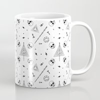 deathly hallows Mugs featuring Deathly Hallows (White) by Mírë