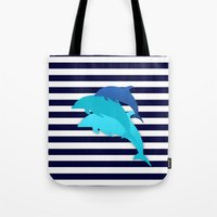 dolphins Tote Bags featuring Dolphins by My Studio