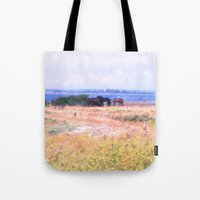 horses Tote Bags featuring Horses  by Truly Juel