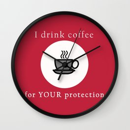 Coffee Protection Red Wall Clock