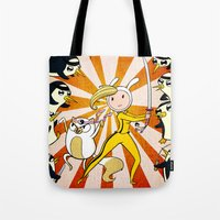 kill bill Tote Bags featuring Fionna and Cake Kill Bill by Nikki Ward Art