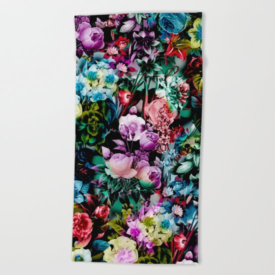 Multicolor Floral Pattern Beach Towel