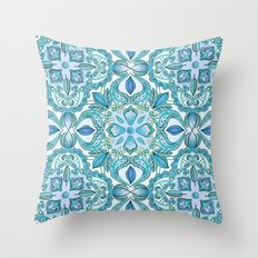 Colored Crayon Floral Pattern in Teal & White Throw Pillow