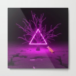 Triangle Fox Metal Print