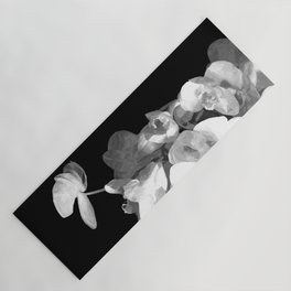 White Orchids Black Background Yoga Mat