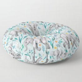 Baby Elephants and Egrets in Watercolor - egg shell blue Floor Pillow