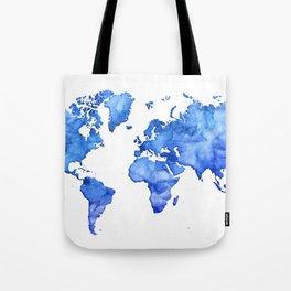 Cobalt blue watercolor world map Tote Bag