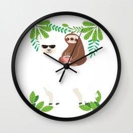 Awesome Floral Llama Lover Sloth Fan Drinking Tea Coffee Gift Wall Clock