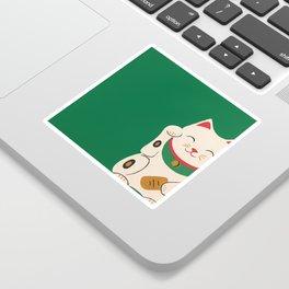 Green Lucky Cat Maneki Neko Sticker