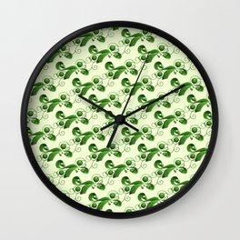 Green balls, ribbons and strings Wall Clock