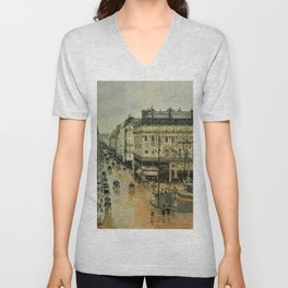 Rue Saint Honore Afternoon Rain Effect 1897 By Camille Pissarro | Reproduction | Impressionism Paint Unisex V-Neck