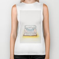 typewriter Biker Tanks featuring Typewriter by Moe Notsu