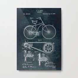 1890 Bicycle Patent Metal Print