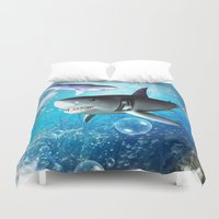 shark Duvet Covers featuring Shark by nicky2342