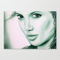 angelina jolie Canvas Prints featuring Angelina Jolie by Lucky art
