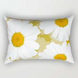 Bunch of White Daisies Olive Color Background #decor #society6 #buyart Rectangular Pillow