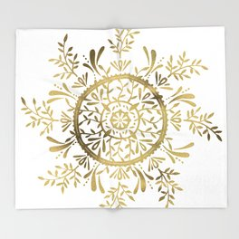 Leaf Mandala – Gold Palette Throw Blanket
