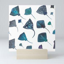 Stingray and Manta Ray Starry Ocean Pattern Mini Art Print